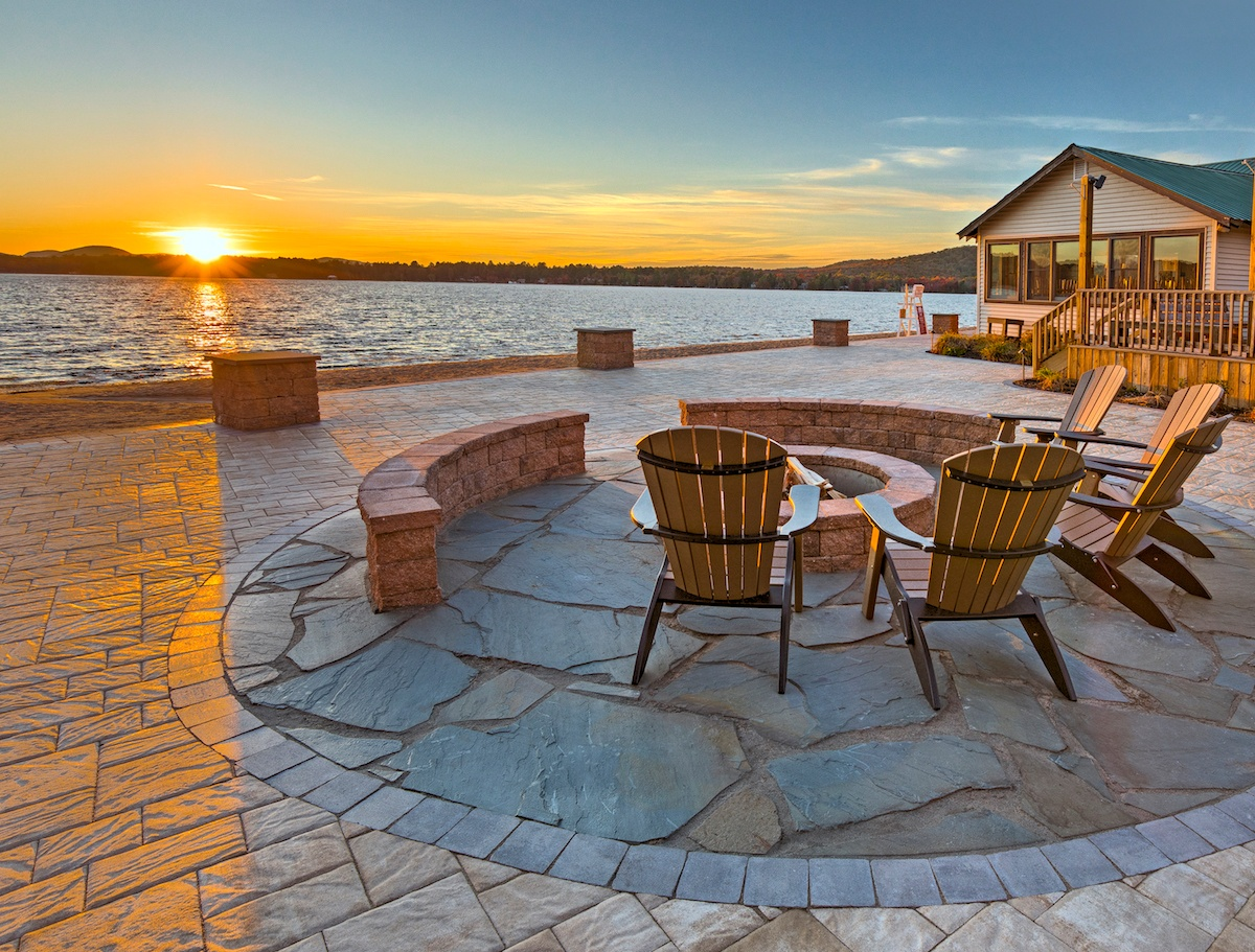 paver patio with natural stone and fire pit