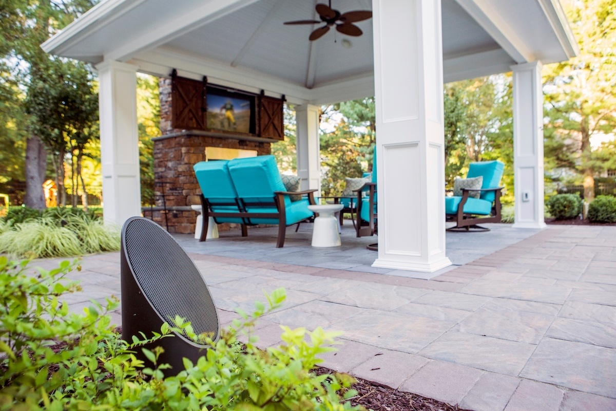 patio with outdoor audio speaker