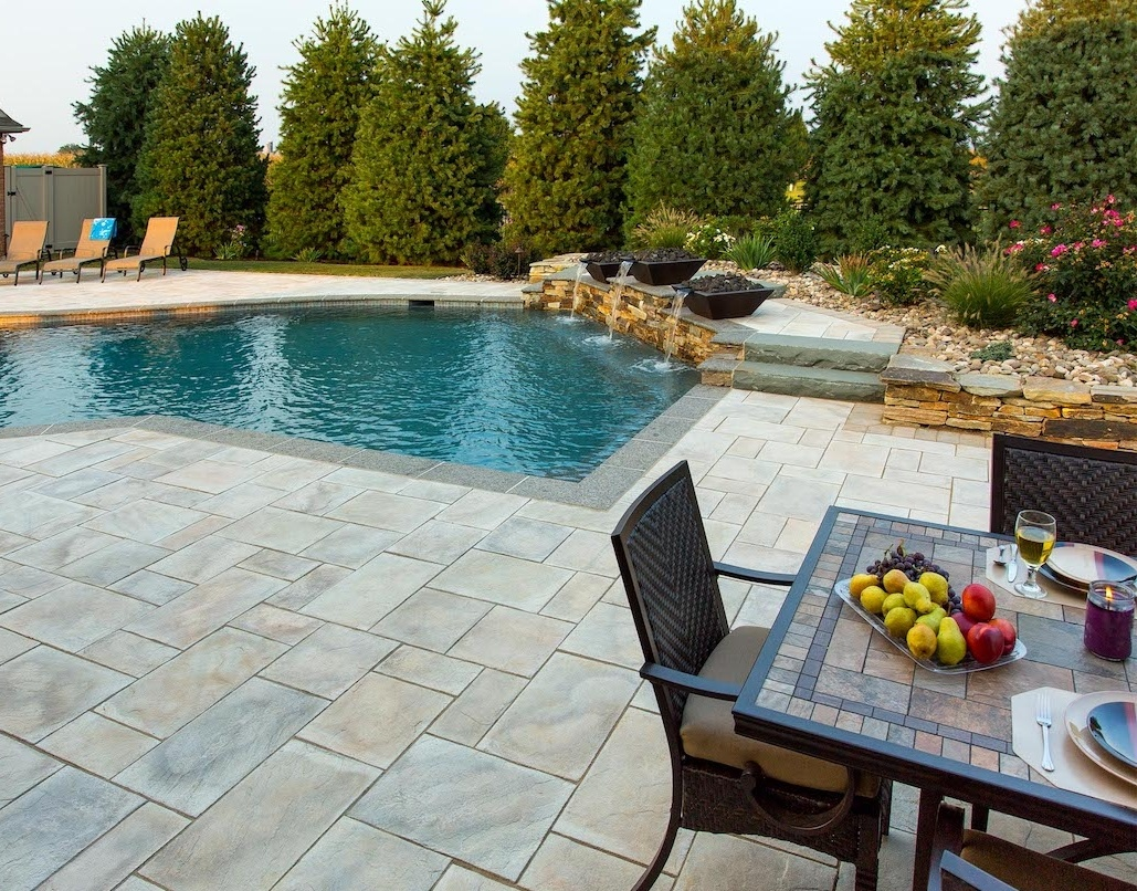 patio built with pavers that look like natural stone