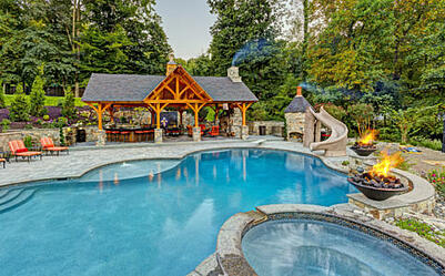 Pavilion, Pool, Outdoor Kitchen, Complete Outdoor Living Environment ...