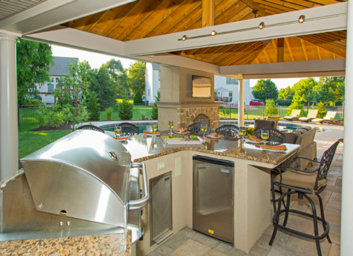 Patio, Pavilion, Outdoor Kitchen & Pool Project