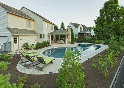 backyard pool patio and pavilion in Lancaster, PA