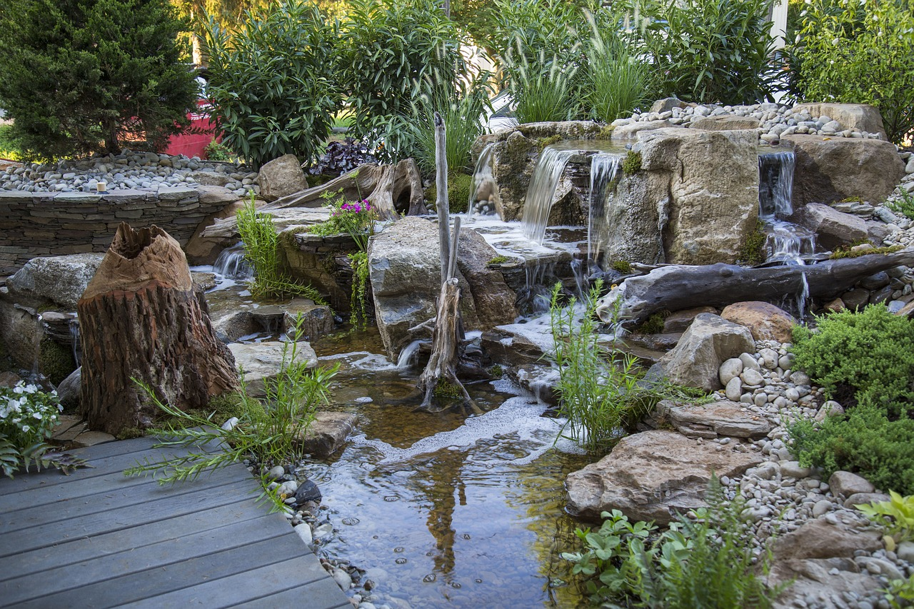 Pondless waterfall landscape