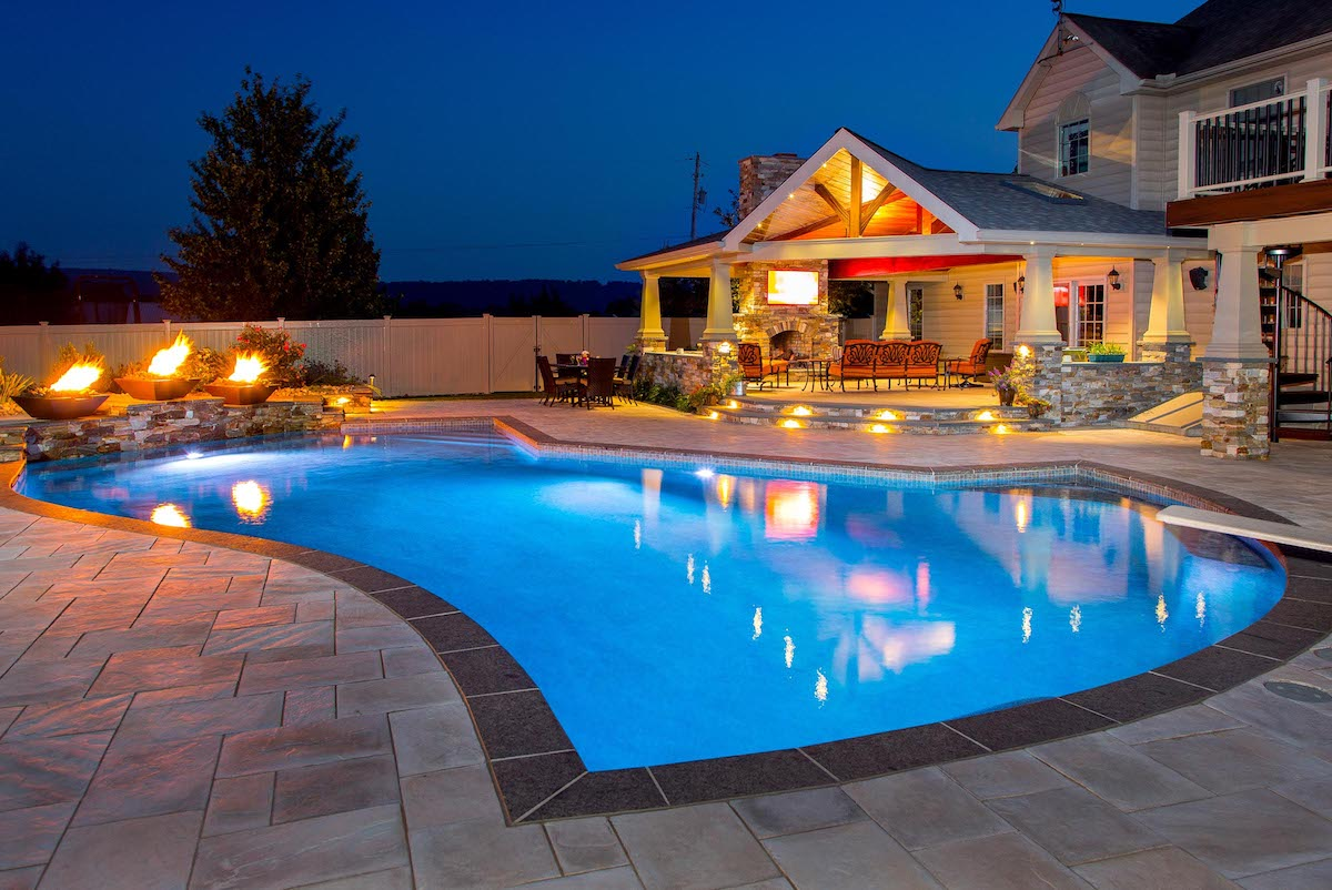 Patio and pavilion in New Holland, PA with pool and fire bowls