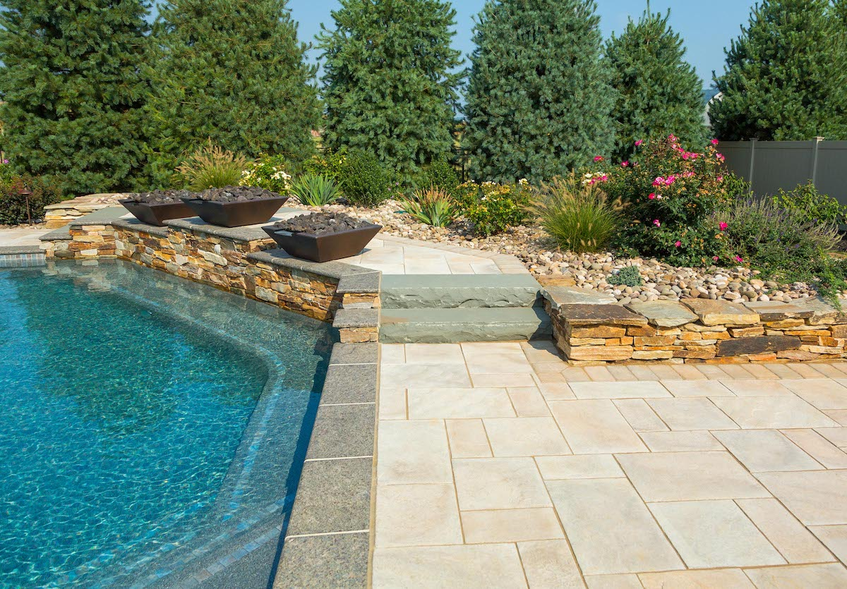 New Holland, PA pool patio with plants & trees