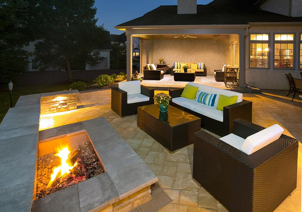 square fire pit on patio