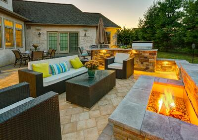 Patio with fire pit in Lancaster, PA
