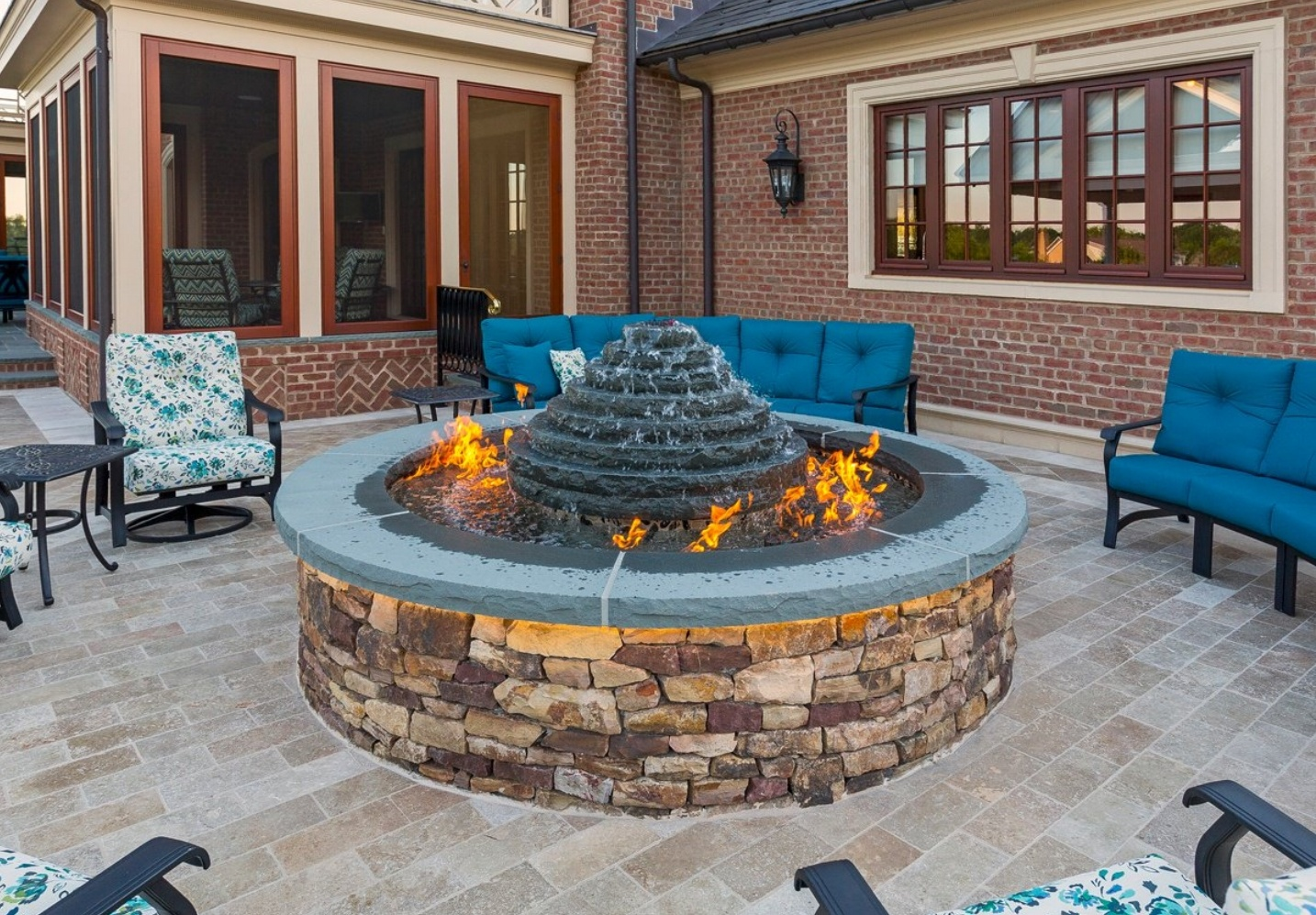 patio with water fountain