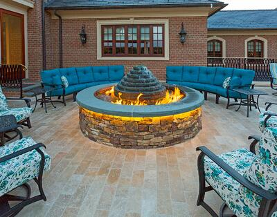 beautiful fire pit fountain on patio
