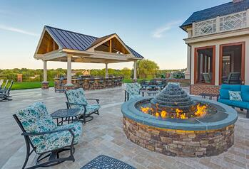 Fire pit and outdoor fireplace design for your Reading, York, Hershey or Lancaster, PA home.