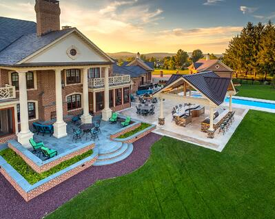 Landscape contractors in York, PA and surrounding areas highlight a project with an outdoor kitchen, fire pit, fountain, pavilion, and more!