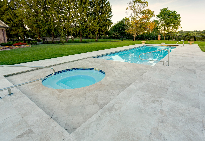 Travertine pool patio in Pennsylvania