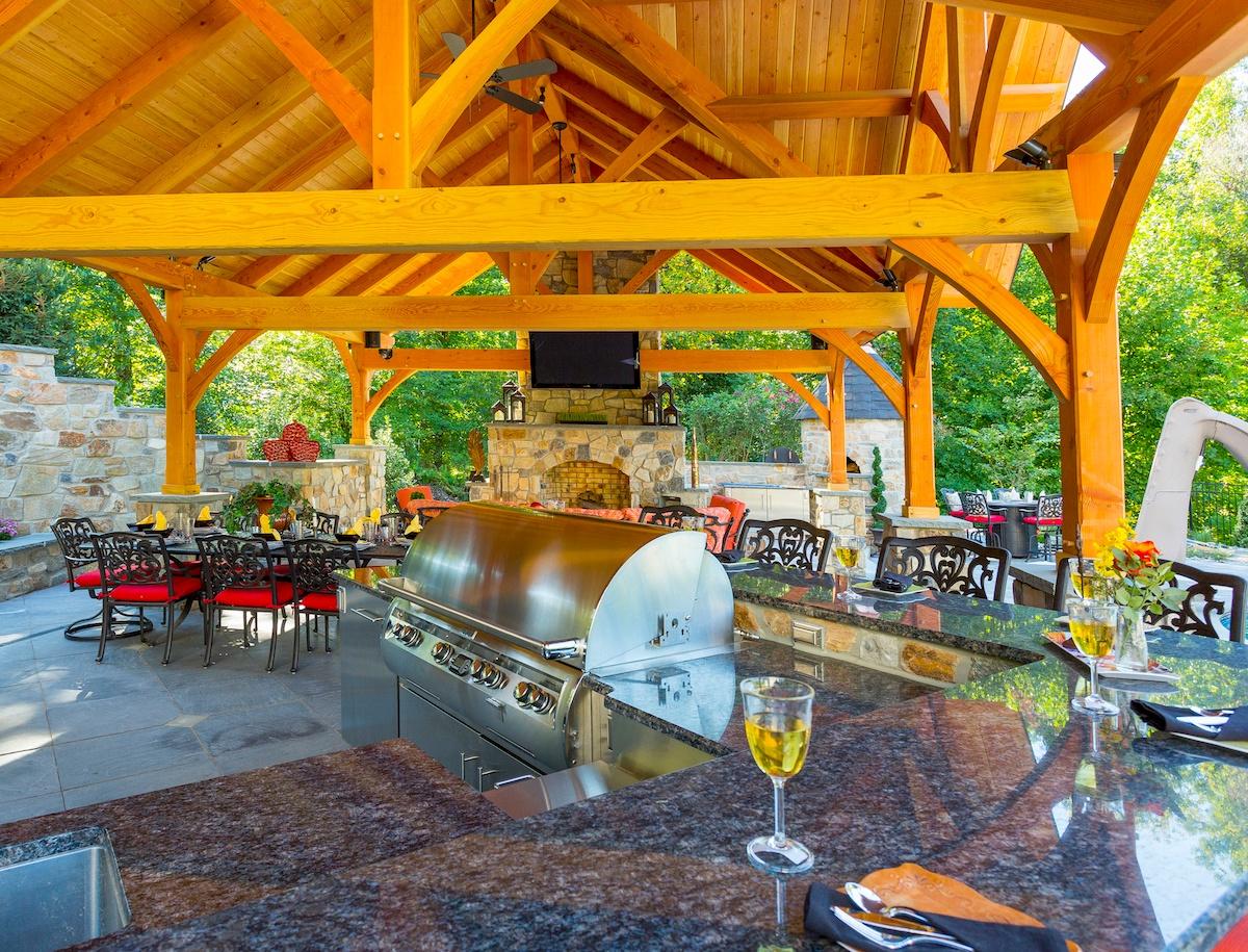 multi-level granite outdoor kitchen countertop