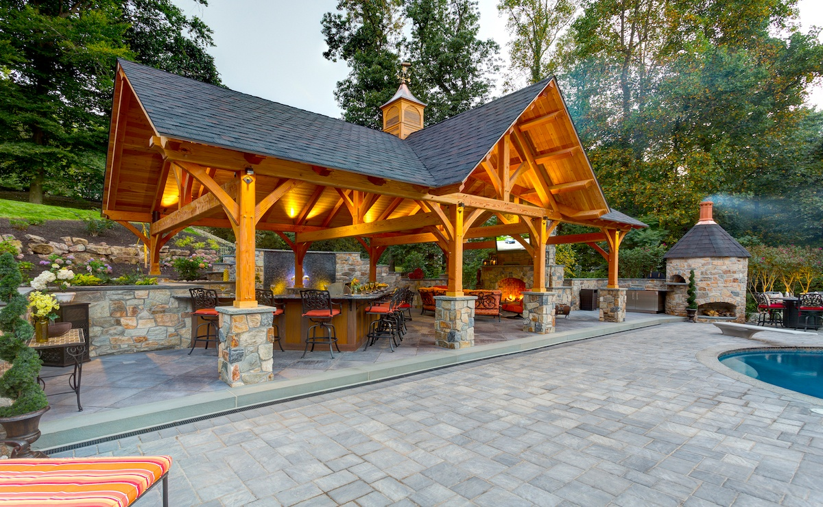 patio and pavilion built using a landscaping phasing plan