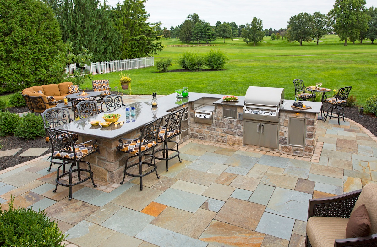 flagstone patio with outdoor kitchen and view of golf course in York, PA