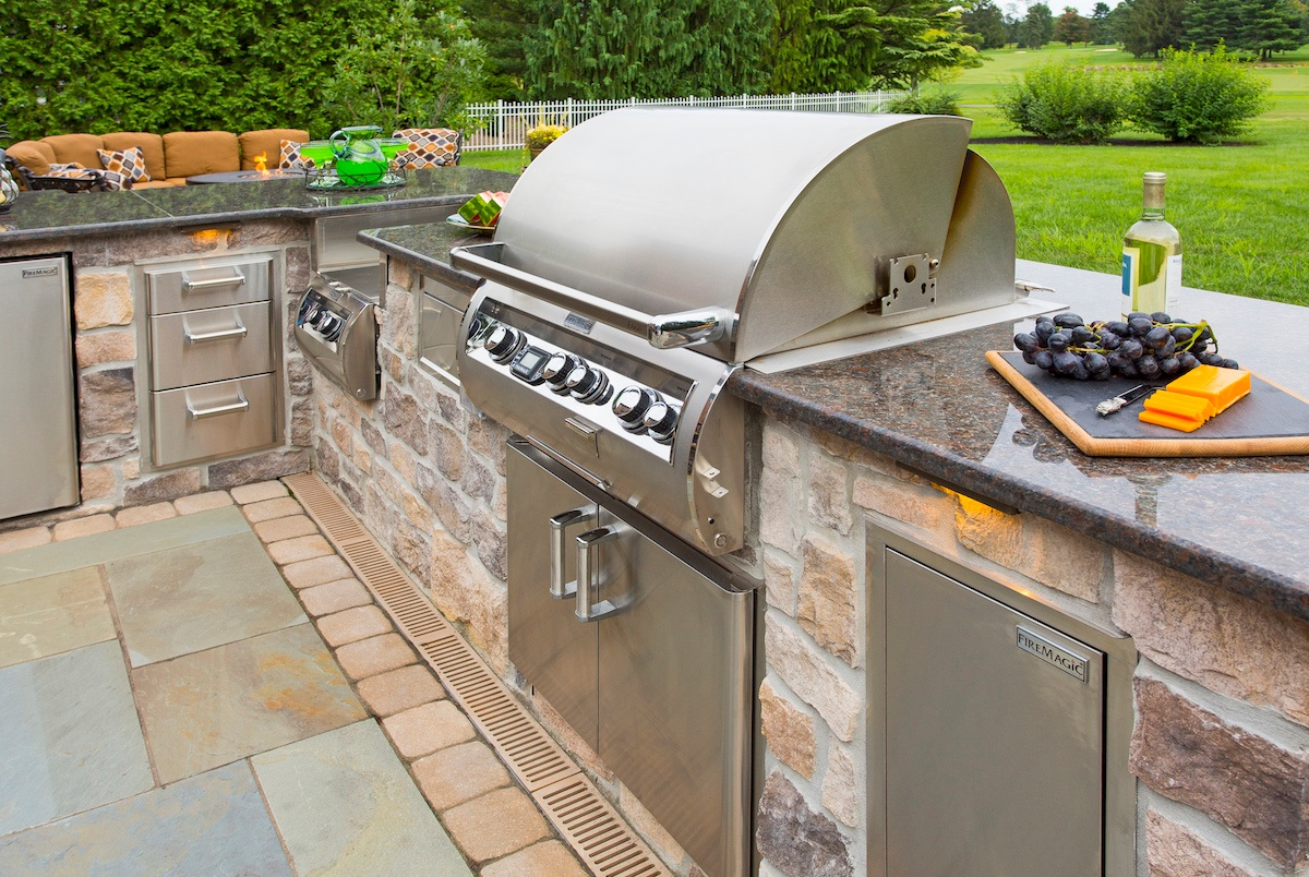 natural stone outdoor kitchen with granite countertop