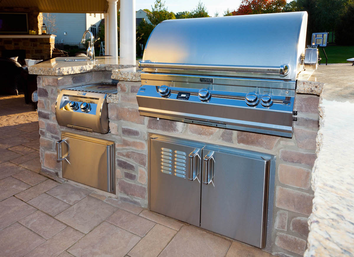 Grill in outdoor kitchen