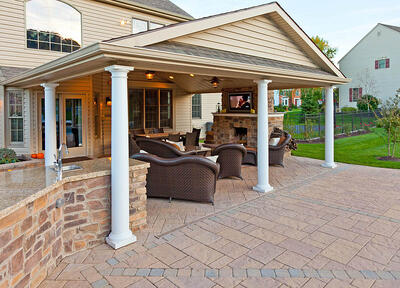 Patio with pavilion, outdoor fireplace, and outdoor kitchen in Lancaster, PA