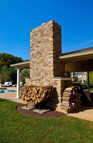 Pavilion outdoor fireplace wood storage
