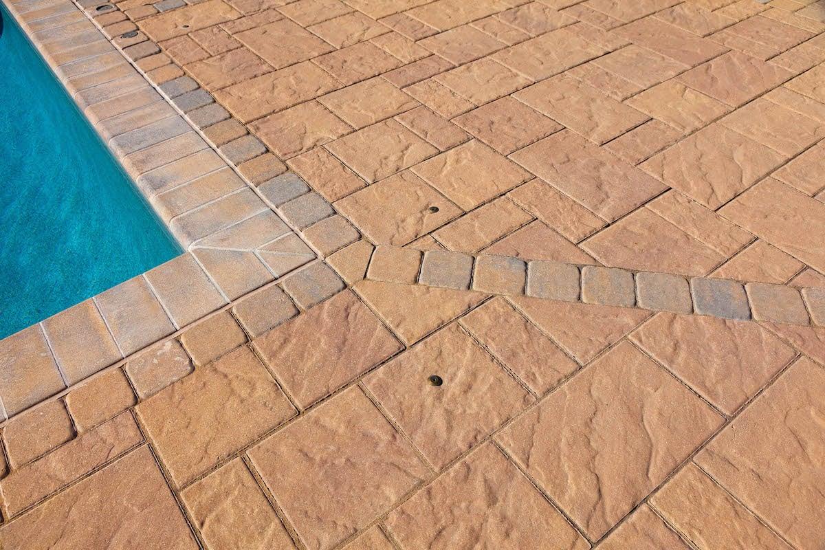 Pool patio with pavers