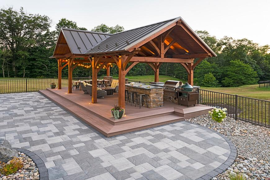 Luxury pavilion with outdoor kitchen