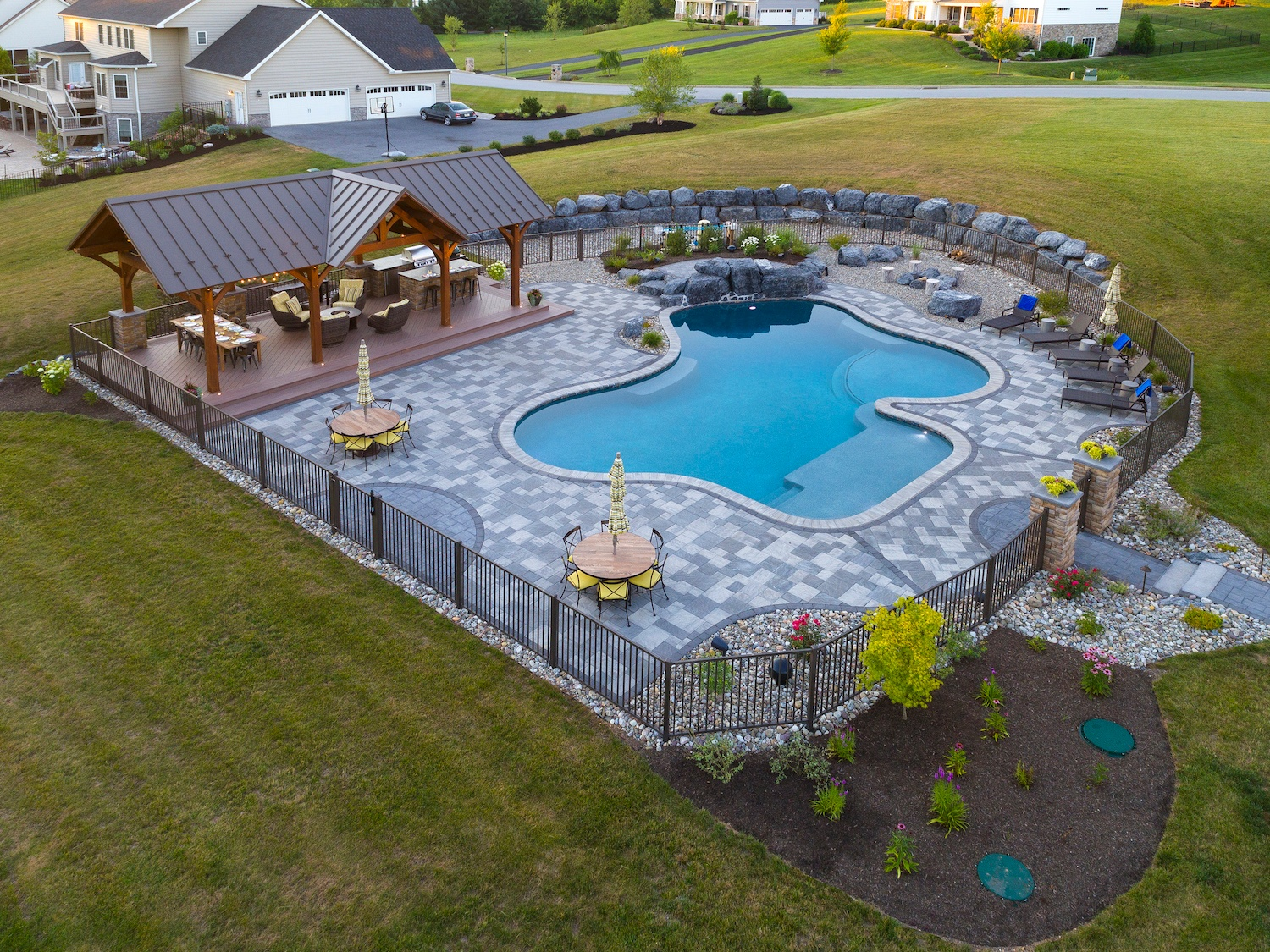 aerial view of custom pool and landscape in Harrisburg, PA