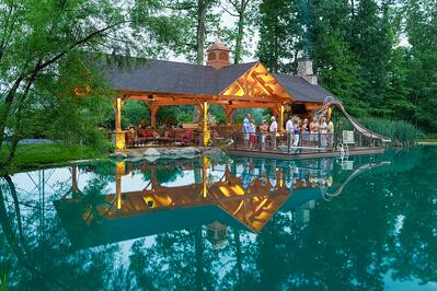 Pavilion with outdoor kitchen and pool