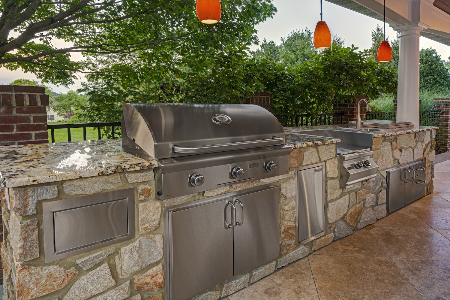 pavilion outdoor kitchen with grill