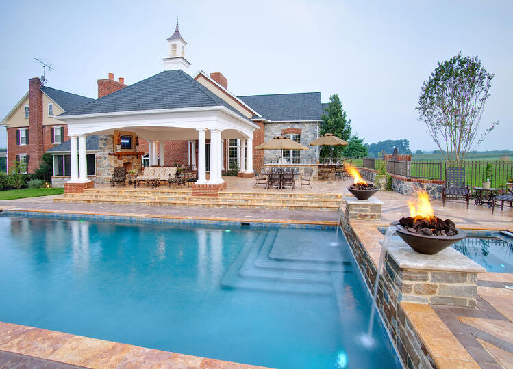unique pool patio and fountain design