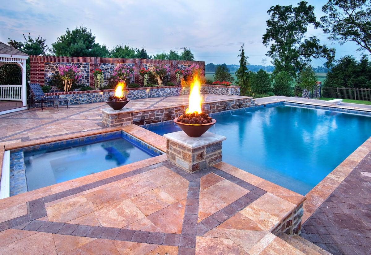fire bowls near pool
