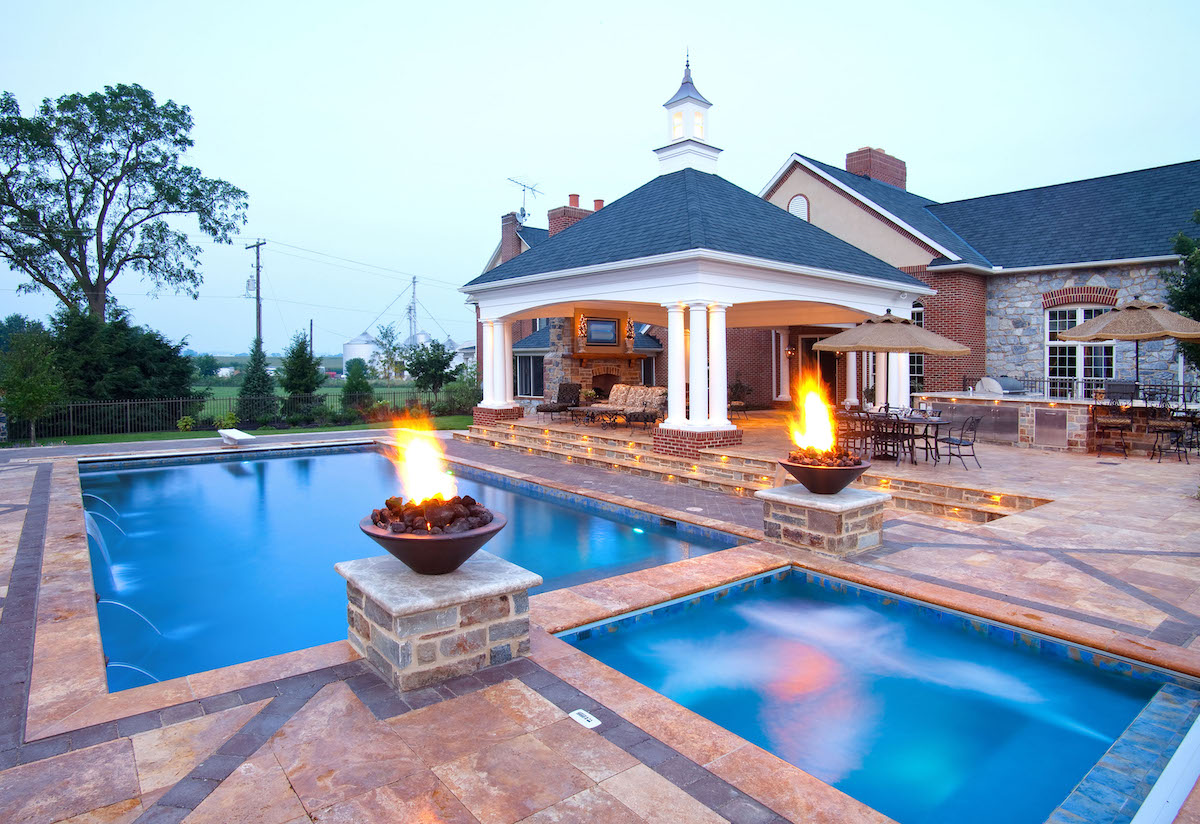pool, pavilion, and patio for entertaining