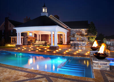 Pool patio pavilion fire bowl lighting