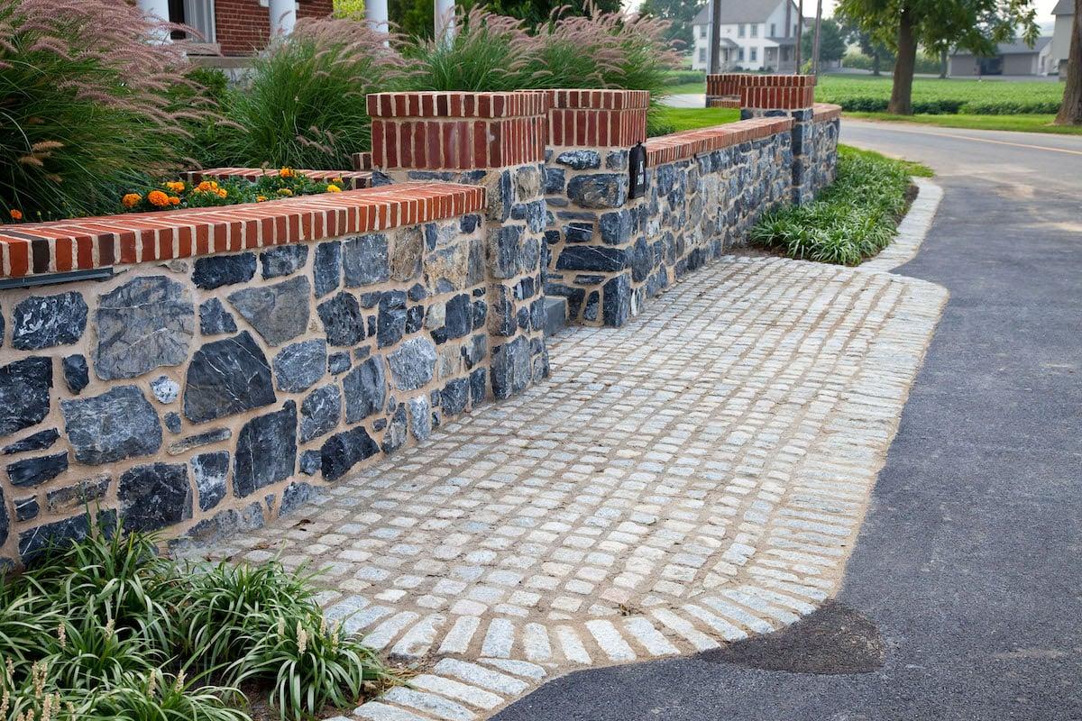 Stone wall front yard entranceway