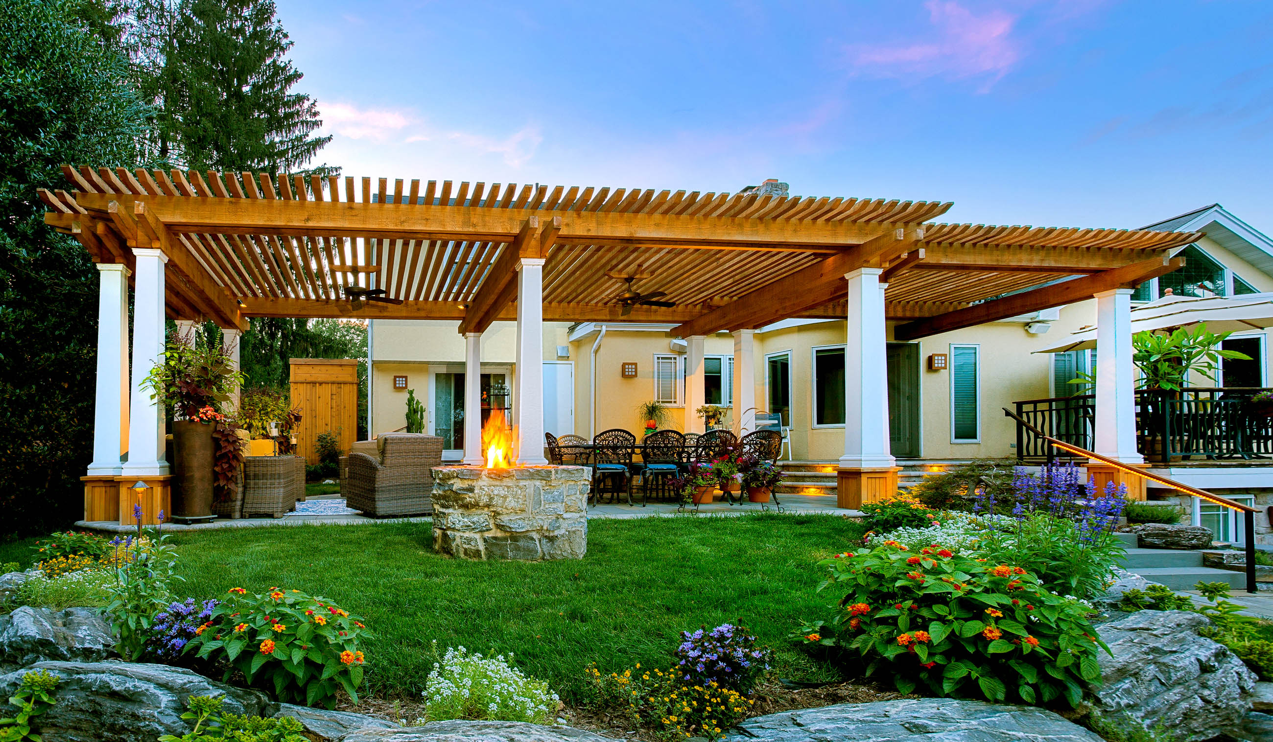 landscape designed with pergola