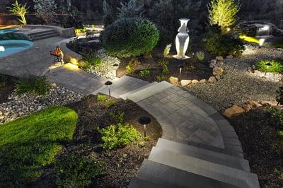 Outdoor lighting walkway steps