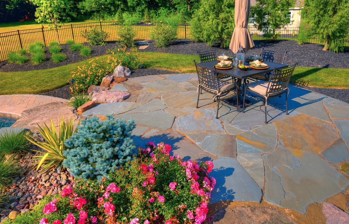 Flagstone patio with plantings