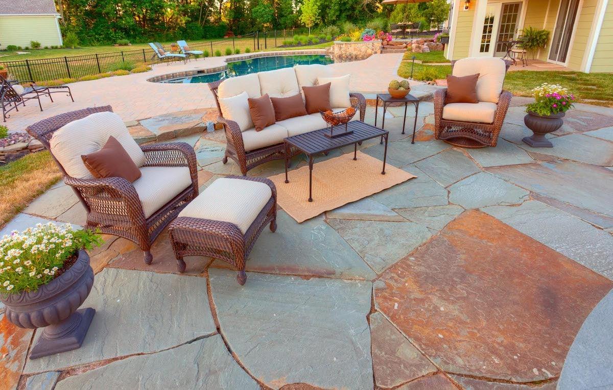 Flagstone pool patio