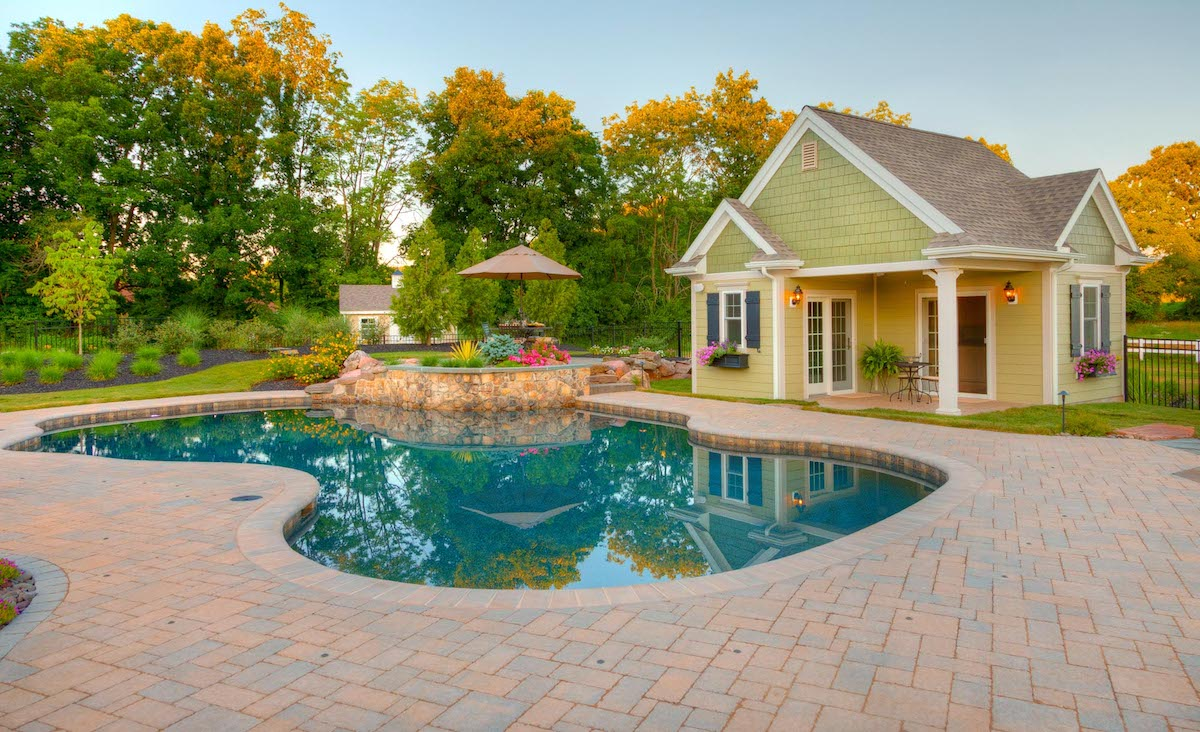 beautiful pool and pool house in Lancaster, PA