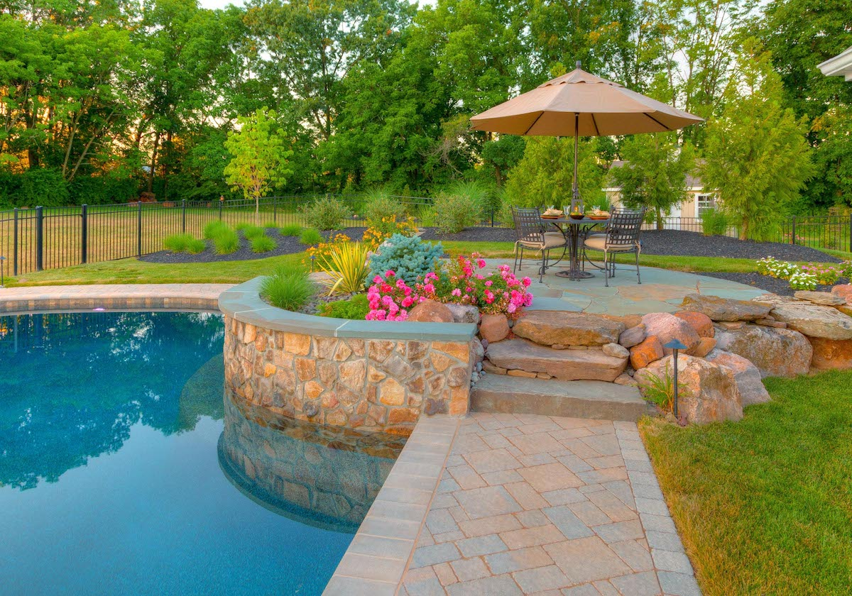Patio with walkway and pool wall