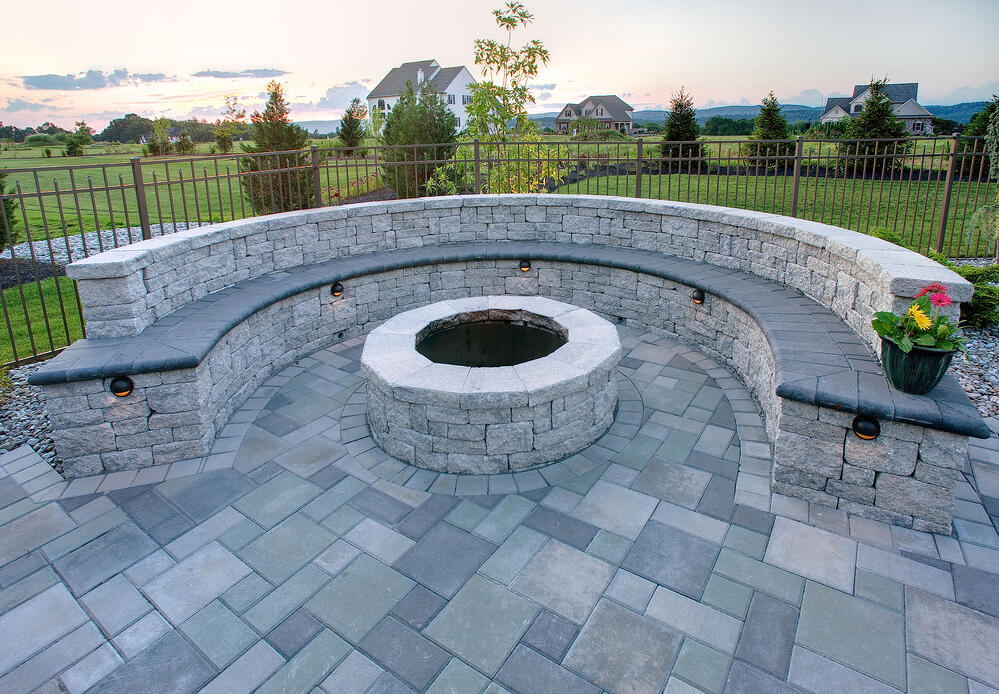 fire pit on patio with wall seating in Lancaster, PA