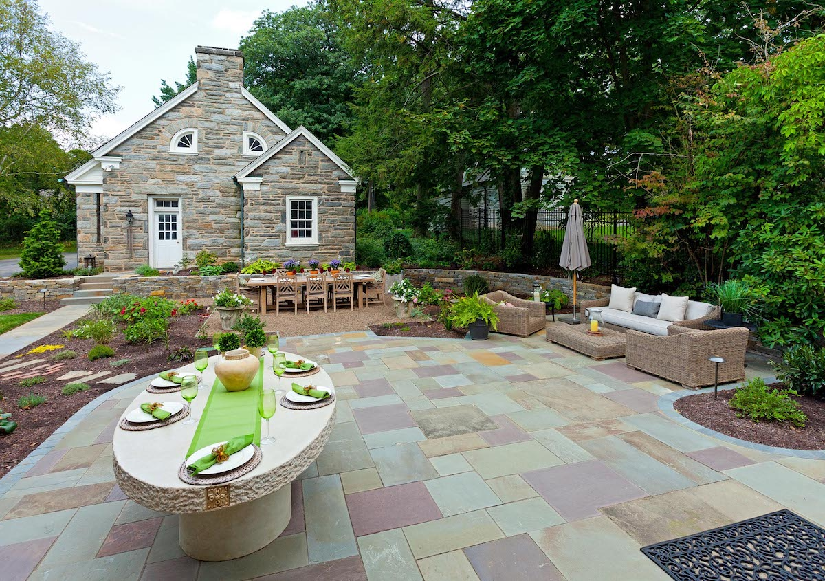 Flagstone patio with dining table