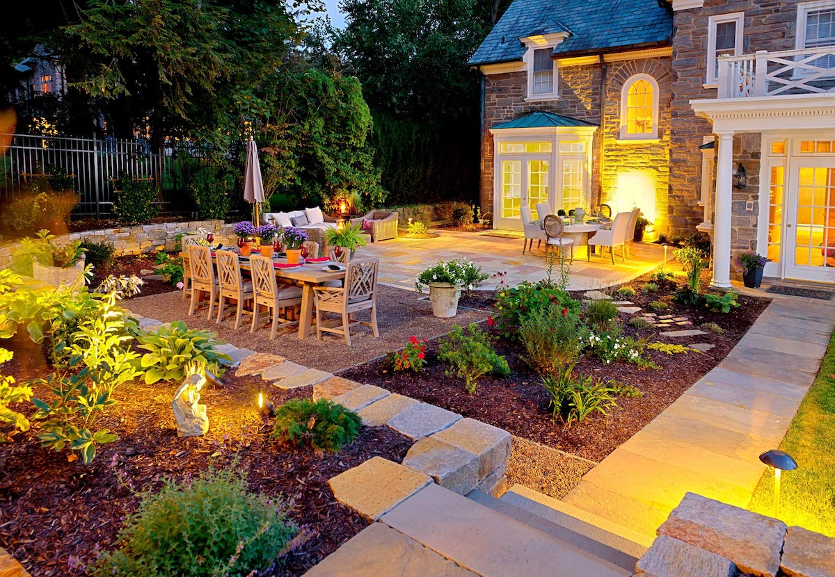 Patio with landscape lighting