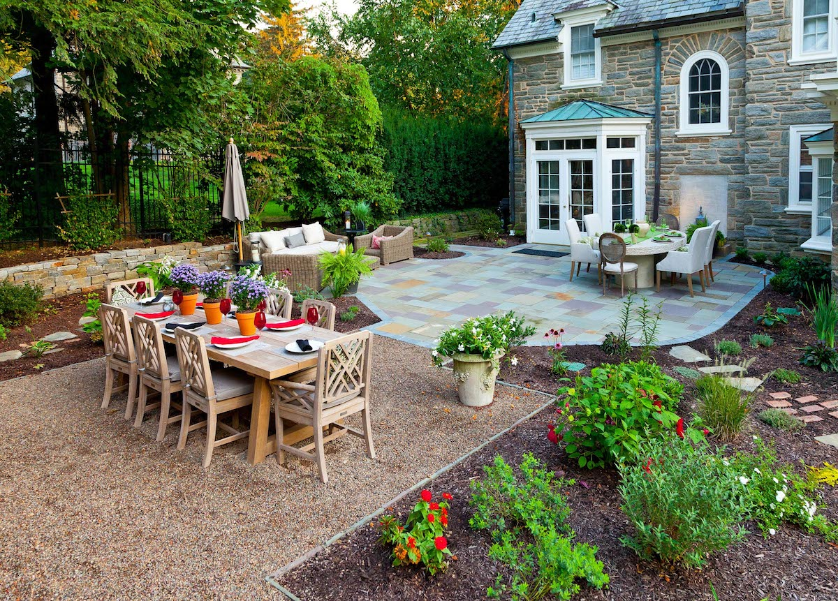professional landscape plantings around patio
