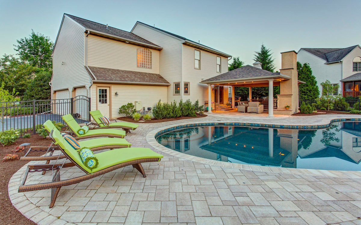 Pool patio with pavers