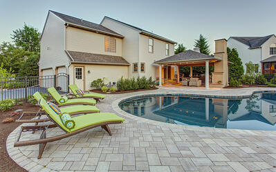 backyard pool, patio, and pavilion designed by Earth, Turf, and Wood in Lancaster, PA