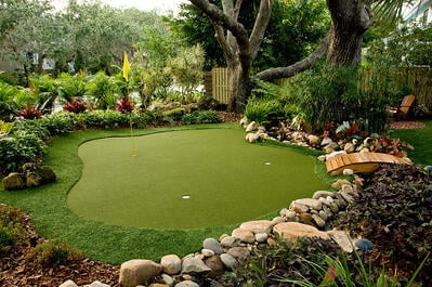 Backyard putting greens installed by local company in Lancaster, PA to surrounding areas.