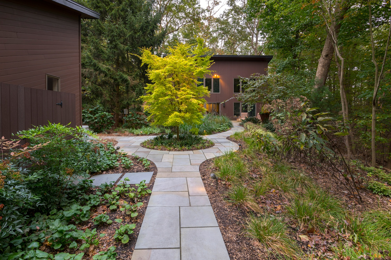 flagstone walkway and plantings