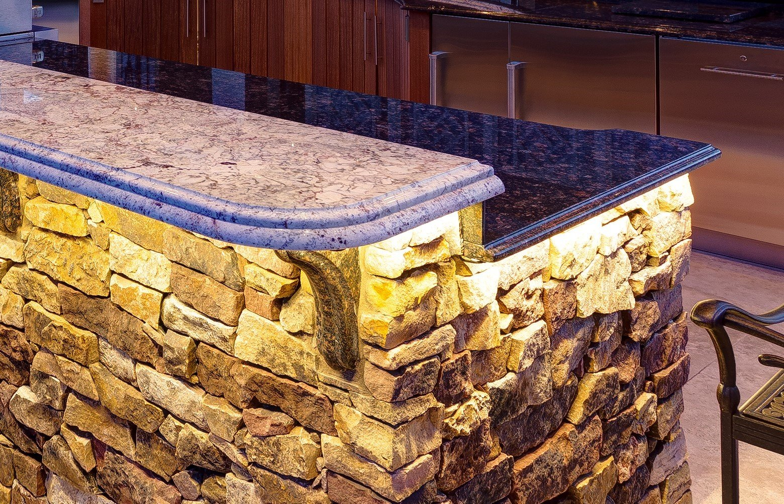 Outdoor Kitchen Countertop Double Stack Ogee & Demi  Bullnose Edge