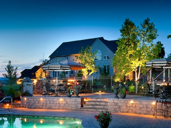 Home with landscape lighting in Lancaster PA