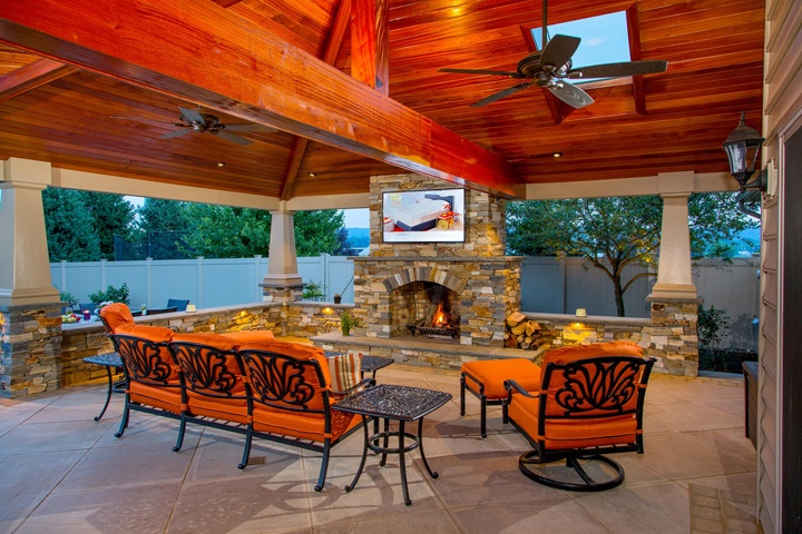 Landscape pavilion in New Holland, PA with outdoor fireplace and television